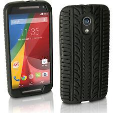 Nero Silicone Custodia Pneumatico per Motorola Moto G  2 ° Gen XT1068 Case Cover