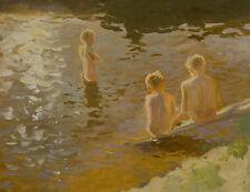 Boys Bathing Johans Valters Jungen Kinder Baden See Nackt Ufer Teich B A3 02585