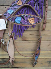 HEADSTALL BREASTCOLLAR SET PURPLE FRINGE TOOLED LEATHER WESTERN HORSE BRIDLE