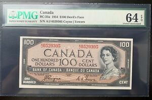 Canada 100 dollars 1954 year P-72a BC-35a UNC Devil's Face PMG64EPQ