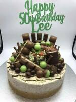 Custom Cake Topper Happy 50th Birthday Green Glitter Any Words, Date,