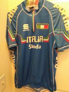 Sportful Men's Cycling Jersey Skoda Italia Size XL Blue  Half zipper