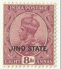 British India JHIND JIND Princely State 1930 MNH S.G 96 King George V 8 Annas
