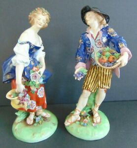 PAIR OF QUALITY ANTIQUE PORCELAIN FIGURINES with GOLD ANCHOR MARK