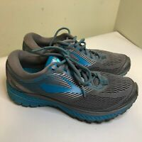 Women's Brooks Ghost 10 Gray Real Blue Running Shoes Size 9 B Green