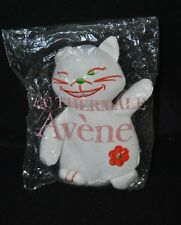 Peluche doudou chat blanc AVENE TRIXERA fleur orange brodée 17 Cm 100% NEUF