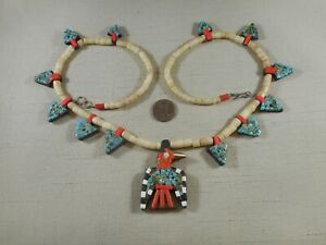 Depression era Santo Domingo THUNDERBIRD necklace with rare arrowhead tabs