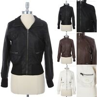 PU Faux Leather Bomber Jacket Long Sleeve Zippered Pockets High Collar S M L
