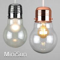 Modern Light Bulb Style Ceiling Pendant Light Shade Chrome / Copper & Glass