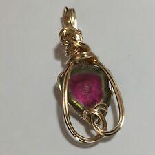 Watermelon TOURMALINE Pendant Pink Green - 14K Gold Filled Jewelry 1616g4-5