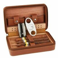 Cohiba Travel Cigar Case Humidor lighter Cutter Leather Humidifier Box Men Gift