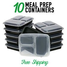 10 Meal Prep Containers Plastic Food Storage Reusable Microwavable 3 Compartment