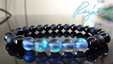 "Matte & Smooth Black Onyx Lab Moonstone Bead Bracelet Men Stretch 8mm - 8"", 7.5"""