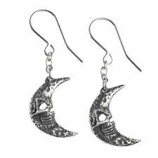 Alchemy Gothic M'era Luna Crescens Tragicom Moon Pewter Earrings - Tragic Moon