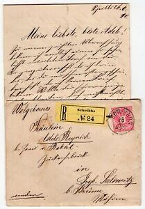 Austria 1890 Scheibbs CDS - Registered Cover w/ Letter Enclosed -