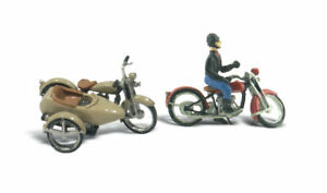 New Woodland HO Vehicle Figure Ki Motorcycles and a Sidecart / Vehicle AutoSc...