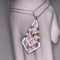 RARE Vintage Sterling Silver Taxco Necklace Signed Abalone Articulated Pendant