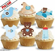 PRE-CUT CUTE BABY BOY TOYS V. EDIBLE WAFER PAPER CUP CAKE TOPPERS DECORATIONS