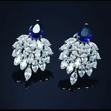 Classy 8.93 Cts F/VS1 Natural Marquise Diamond Sapphire Stud Earring In 14K Gold