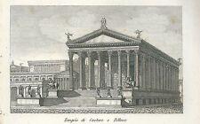 1849 TEMPIO DI CASTORE E POLLUCE Pomba Ed. acquaforte su rame Dioscuri Roma