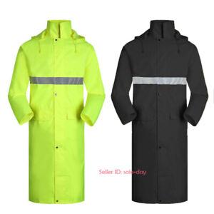 Adults Outdoor Waterproof Hooded Raincoat Reflective Jacket Hiking Long Poncho