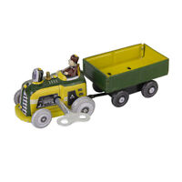 Vintage Tractor and Trailer Collectible Tin toy with Wind-up Key