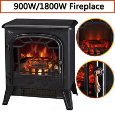 1800W Electric Fireplace Log Burning Flame Effect Stove Fire Heater Thermal