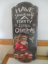 "Tall 24"" Retro Vintage St. Nick Santa Claus Christmas Holiday Plaque Decor Sign"