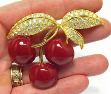 VINTAGE JOAN RIVERS GOLD RHINESTONE PLASTIC CHERRY BUNCH PIN BROOCH