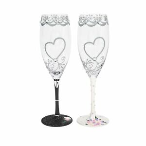Enesco Designs by Lolita Bride and Groom Wedding Toasting Champagne Flute Set