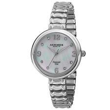 New Women's Akribos XXIV AK765SS Diamond Markers MOP Expandable Bracelet Watch