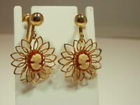 Vintage 60's  Pink White Faux Cameo Gold Tone Dangle Screw Back Earrings 541o9