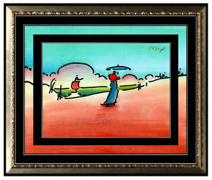 PETER MAX All ORIGINAL Signed Ink and WATERCOLOR PAINTING Pop Art UMBRELLA MAN