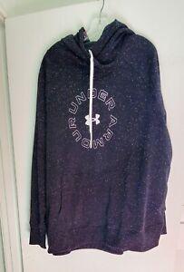 Under Armour Womens Logo Fleece Hooded Sweatshirt Black/White Sz 3X-NWT