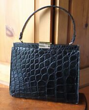 Vintage Comtesse Black Alligator Crocodile Handbag Shoulder Bag Coin Purse Set