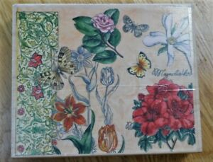Stamps Happen BUTTERFLY FLORAL~Large Wood Mount Rubber Stamp~90291