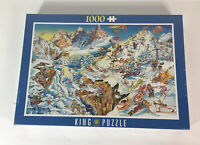 New King Puzzle Wintersport Comic 1000 Piece by Gerard Como Sealed