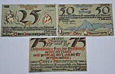 OBER-AMMERGAU Gemeinde Notgeld 25, 50, 75 Pfennig 1921 ohne Rand (5779)