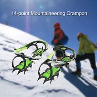 14-point Crampons Manganese Steel Climbing Gear Anti-Skid Snow Ice Shoe USA N3W6