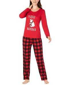 Family Pajamas Fleece Navidad Pajama Set (XL, Red)
