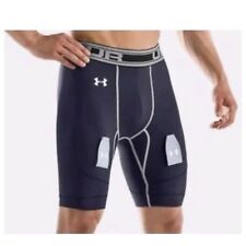 UNDER ARMOUR Men's Small Heatgear Hockey Compression Shorts Blue NWT MSRP 54.99