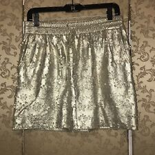 Anthropologie Leifsdottir Gold Floral Laser Cut Leather Mini Skirt 6