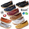 Womens Ladies Slip On Leather Comfy Work Summer Casual Loafers Shoes Size UK 3-9