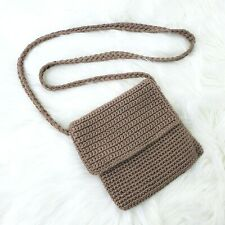 THE SAK Brown Lined Crossbody Shoulder Crochet Woven Purse Bag Fold Over Flap