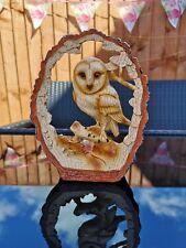 Wood Effect Resin 18cm Figurine - Owl in Log