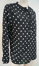 MAISON SCOTCH CHAPEAU NOIR & BLANC Polka Dot sans col chemisier haut Sz:4 XL