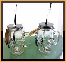 Skull Halloween Drinking Glass Cup Mason Jar Lid Set 2 BONUS Party Bottle Opener