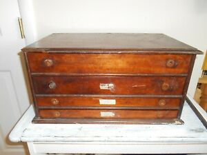 Antique 4 Drawer Solid Wood  Watch maker Jewelry  parts Spool Cabinet Primitive