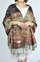 Vintage Women's Warm Winter Tassel Pashmina Cashmere Long Scarf Shawl Wrap Black