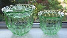 VINTAGE GREEN DEPRESSION GLASS ROSE VASES